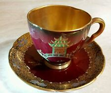 Carlton Ware 1930-1940 Red & Gold  Pagoda Cup & Saucer -England