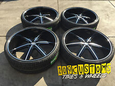 "24"" U2-55 24X10 6X139.7 +30 BLACK WHEELS AND TIRES TOYOTA HILUX 108 CENTER BORE"
