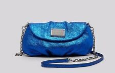 NWT MARC Jacobs Leather Classic Q Karlie Crossbody Metallic Scuba Blue Silver