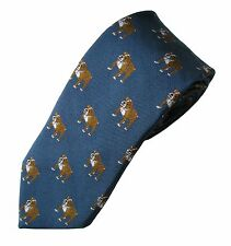 English Bulldog Necktie Dog Breed Woven Silk Men's Attire Clothing Accessory Tie