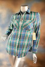 NEW RALPH LAUREN DENIM & SUPPLY RL utility plaid boho button blouse top shirt XS