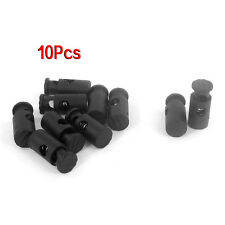 Black Plastic Toggles Stop Drawstring Cord Locks 10 Pcs LW