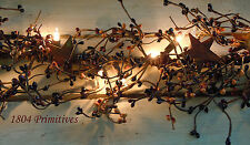 "40"" LIGHTED Pip Berry Garland with Rusty Stars ~ Black, Orange, Rust"