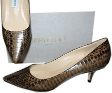 Jimmy Choo AZA Snake Python Leather Pump Pointy Toe Low Kitten Heel SHoe 38 New