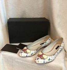 NEW Louis Vuitton White Multicolor PRIMROSE BALLERINA FLAT Shoes 36.5, 6.5