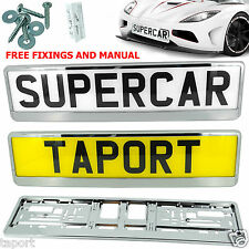 2x SUPER CHROME NUMBER PLATE HOLDER SURROUND FRAME Peugeot 107 307 Hatchback 207