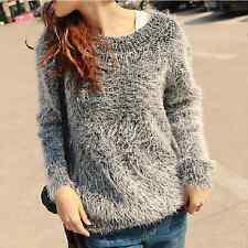 New Women Girl Fashion Korean Winter Fall Long Sleeve Sweater Top Casual Back