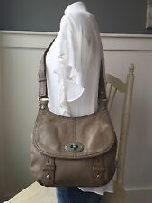 "FOSSIL MADDOX Taupe Leather Messenger Crossbody Shoulder Bag 11"" x 11"""