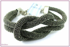 SUZIE BLUE. GORGEOUS DOUBLE STRAND GUN METAL GREY GLASS SEED BEAD KNOT NECKLACE.