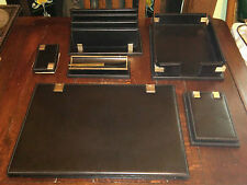 Vintage Dunhill Black Leather Writing Desktop Set