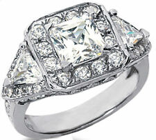3.52 carat, PRINCESS, Round & Triangle DIAMOND Engagement Wedding 14k Gold Ring