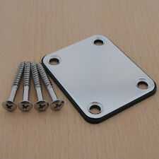 Guitar Chrome Neck Plate Chrome With One Rubbermat Stratocaster Telecaster New