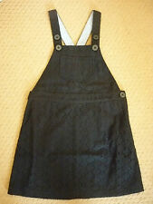 MINI BODEN BRODERIE DUNGAREE DRESS in BLACK, STRIPE TRIM. 6-7 YEARS. BNIB. 93220