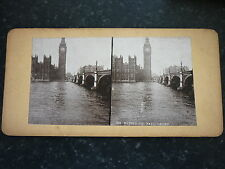 Stereoview Early Image The Houses Of Parliament Showing Thames & Bridge  London