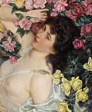 """Canvas Print Oil Painting Rose nude girl Printed on canvas 16""""x20"""" L1113"""