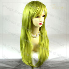 Sexy Long Straight Golden & Green Ladies Wigs Heat Resistant Cosplay WIWIGS UK