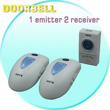 AC 220V Plug In Wireless Cordless 2 Door Bell Chime 1 Remote Button Range 50-80m