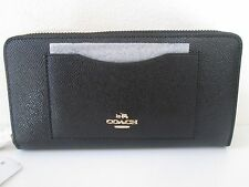 New Coach F54007 Crossgrain Leather Accordion Zip Wallet Black, Platinum, Saddle