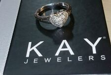 Kay Jewelers Kays Heart pave pave Diamond Band  sterling silver Ring $195