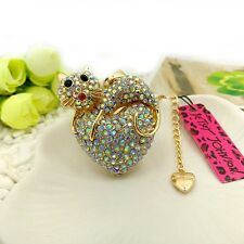 Betsey Johnson Cat heart Crystal Pendants chain Sweater chain necklace BB155