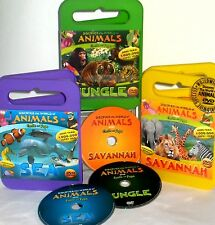 DISCOVER WORLD OF ANIMALS 3 DVDS $45 NEW! EDUCATIONAL,SEA, JUNGLE,RAIN FOREST