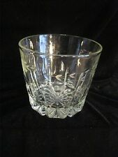 VINTAGE ETCHED GLASS ICE BUCKET - FLOWERS AND LEASVES HEAVY - OVER 2-3/4 LS.