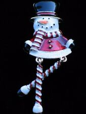 NWT HAPPY FUN CANDY CANE FROSTY THE SNOWMAN PIN BROOCH JEWELRY DANGLING LEGS 3""
