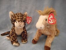 TY BEANIE BABYS TWO SNEAKY THE LEOPARD 2000 FILLY SPARKLE HORSE 2002 RTRED RARE