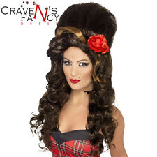 Rehab Wig Brown Amy Winehouse Bee Hive Ladies Fancy Dress Costume Accessory New