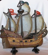 Nautical Cast Iron Door Stop Sailboat Galleon Ship Boat Heavy Painted Sail 11.5""