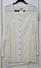Lucky Brand woman's plus 2X off-white top with contrasting embroidery NWT
