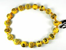 Prayer Beads Strand of Pale Yellow Resin Beads with Engraved 18 Arhats Pictures