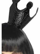 Ladies Black Glitter Evil Queen Crown Halloween Fancy Dress Mini Hat 28314