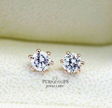 18K Rose Gold Plated Stud Earrings W/ Genuine Round Cut Swarovski Diamond