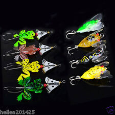 Lot 8pcs Mixed Fishing Lures Bass CrankBaits Cicada Frog Soft Tackle Bait Hooks