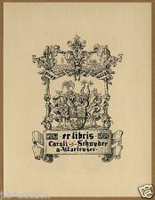 Exlibris Bookplate * JEAN KAUFFMANN * Wappen Heraldik Fisch Fish Heraldry Crest