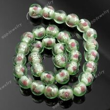 12mm Green Lampwork Glass Flower Round Ball Loose Beads Jewelry Findings Craft
