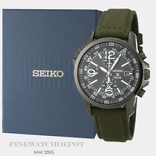Authentic Seiko Men's Solar Chronograph Military Nylon Strap Watch SSC295