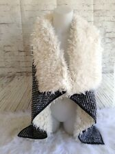 Angie Faux Fur Leather Trimmed Knit Open Vest Cream Black Small $60