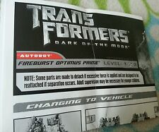 TRANSFORMERS DARK MOON FIREBURST OPTIMUS PRIME INSTRUCTION BOOKLET ONLY