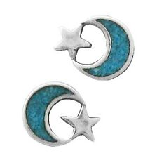 Silver Star And Moon Turquoise Inlay Earrings For Women Gem Stone Semi Precious