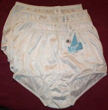 4 Pair Womens Size 7 WHITE Carole 100% Nylon Panty Brief Style Panties USA Made