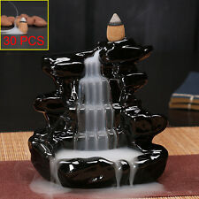 Black Waterfall Porcelain Backflow Ceramic Cone Incense Burner Holder + 30 cones