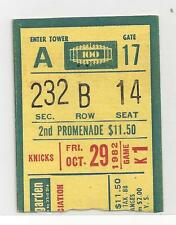 New York Knicks vs Philadelphia 76ers October 29 1982 Ticket Stub Madison Square