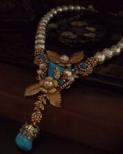 Vintage Turquoise Flower & Leaf Baroque Pearl Necklace,Very Miriam Haskell Style