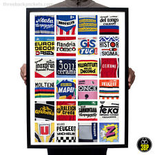 The A.B.C of Vintage Cycling Jerseys! Retro Sports Wall Art Design Poster Print