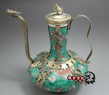 chinese Tibet silver carved dragon phoenix inlay porcelain monkey teapot pot