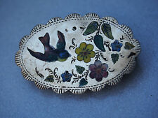 Victorian ENGLISH Sterling Robin Figure Pietra Dura Micro Mosaic Bird Brooch