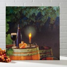 "WINE & CHEESE Vineyard Lighted Canvas, LED Light, 8"" x 8"" by Ohio Wholesale"