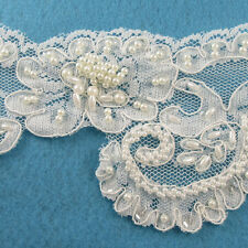 1 METRE CREAM / IVORY BEADED LACE BRIDAL WEDDING TRIM TRIMMINGS 110mm WIDTH HL47